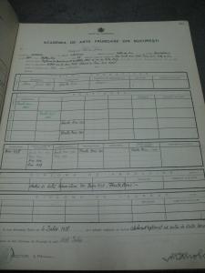Arhiva de la Belle Arte: registrul matricol